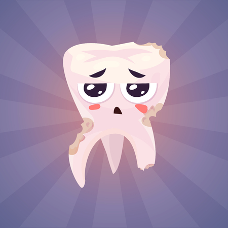 Broken teeth. Funny character on blue background. Vector cartoon illustration. Cute stylish characters.