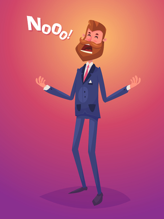 Funny disappointment business man character. Isolated vector illustration.