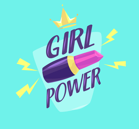 Feminism slogan with hand drawn lettering girl power.