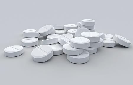 The white tablet on a grey background Stok Fotoğraf