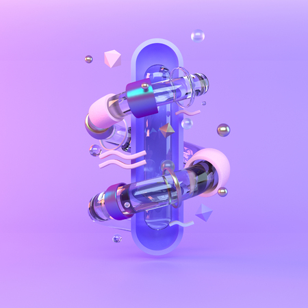 Abstract 3D of metal objects on violet background Stock Photo