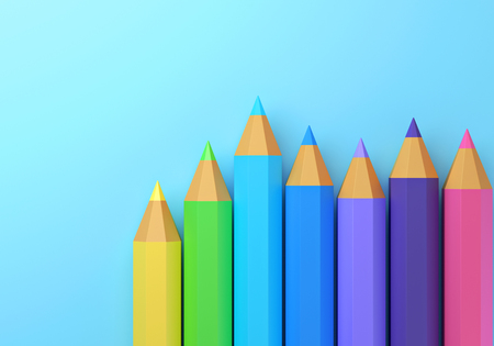 Pencils on blue isolated background. 3d