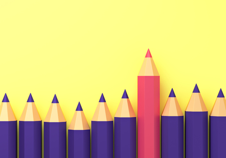 Pencils on yellow isolated background. 3d