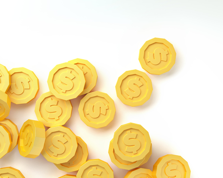 gold coins isolated on white background. 3d render Zdjęcie Seryjne