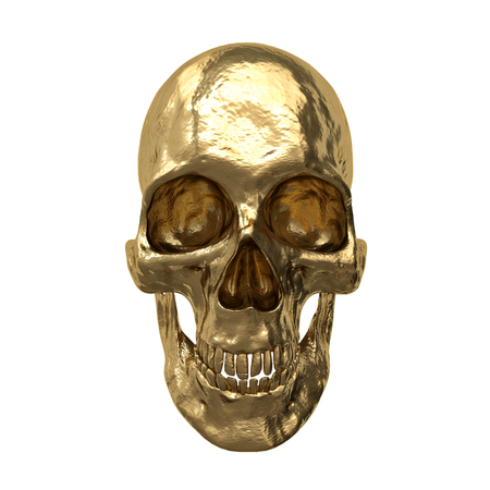 Gold human skull, isolated on white background. 3d