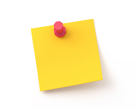 Yellow sticker pinned red pushbutton with curled corner,