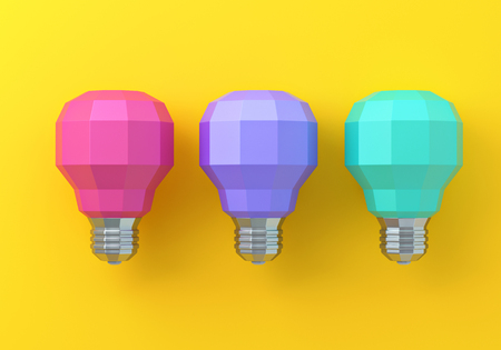 3d bright lamps against a yellow background.