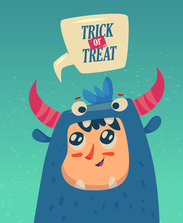 Happy halloween greeting card with cute monster. Trick or treat holiday cartoon.