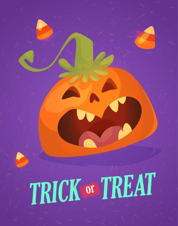Happy halloween greeting card with cute pumpkin. Trick or treat holiday cartoon.