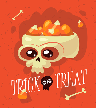 Halloween. Inscription trick or treat is surrounded by bones, skulls, sweets, lollipops, candy. Ilustrace