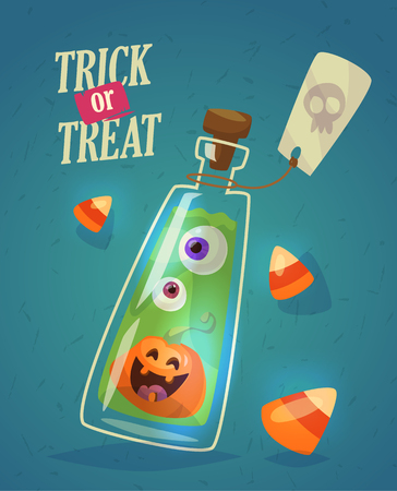 Set of colorful halloween illustrations with ghost, terrific scarecrow, crooked tree on a cemetery and jars and potions from witchs hut. Çizim