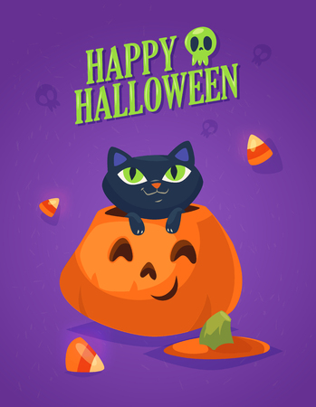 A cute black cat on a Halloween pumpkin. Design for print, party decoration, t-shirt, illustration, logo, emblem or sticker