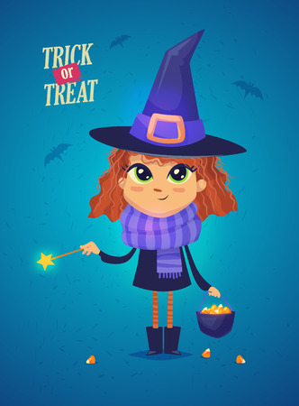 Halloween Witch with cooks and magic stick. Girl in a witch costume Funny character. Design for print, party decoration, t-shirt, illustration, logo, emblem or sticker. Vector illustration Ilustrace