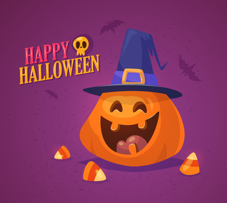 Cute Halloween pumpkin with heat and sweets. Design for print, party decoration, t-shirt, illustration, logo, emblem or sticker. Vector illustration