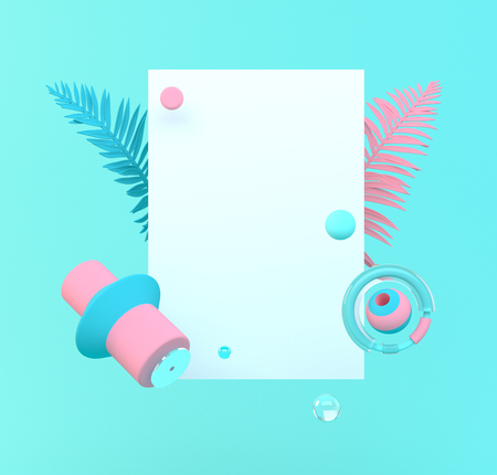 3d rendered illustration with geometric shapes and leaves. Pastel colors Place for text or product presentation.