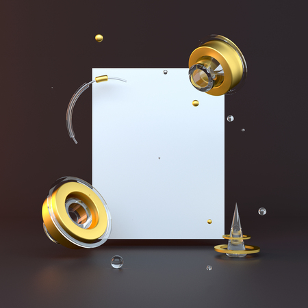 3d rendered illustration with geometric shapes. gold and black. Minimalist design with empty space.
