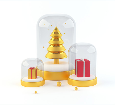 3d illustration. Snow globe with trees. Winter holidays concept Stock Photo
