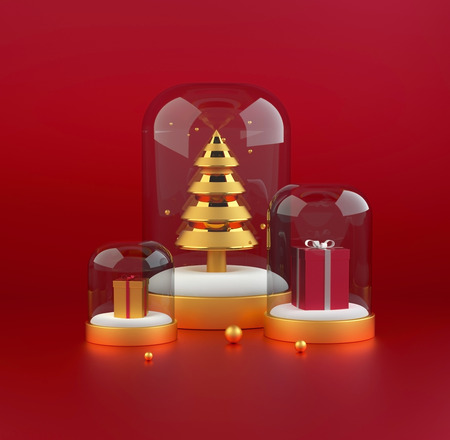 3D Christmas tree with presents. 3d render