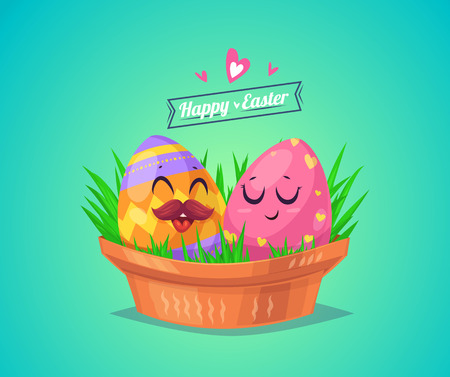 Happy Easter greeting card with couple eggs. Vector cartoon illustration. Cute stylish characters. Vector stock illustration.