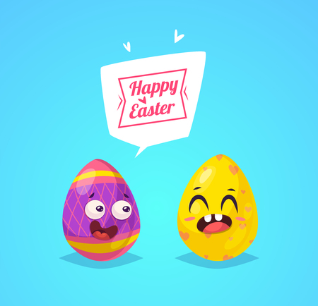 Set of Easter characters. Vector cute cartoons 向量圖像