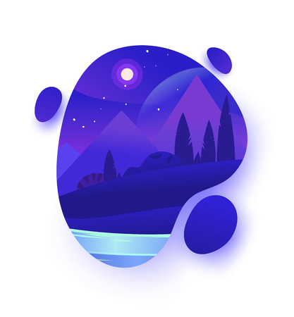 Vector night environment with sky clouds. Moonlight. Night landscape forest with trees and the sky with moon and stars . Background design Vector