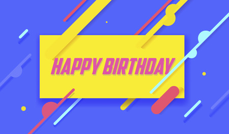 Vector illustration. Happy Birthday on yellow background. Typography design. Greetings card. Trendy geometric print.