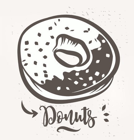 Donut poster with cool design. Vector stock illustration.
