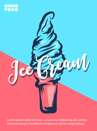 Ice Cream hand lettering, custom typography, cartoon letters on pink and blue background. Vector type illustration