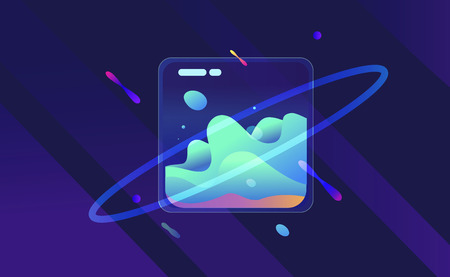Templates with holographic liqud effect. Vector hologram backgrounds for flyers, banners, brochure, placard, poster, card design. Fluid colors neon vector templates