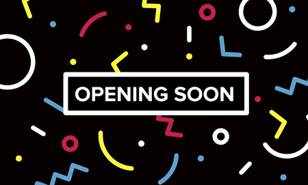 Opening soon banner. Graphic design with geometric elements. Creative stock decoration vector 矢量图像