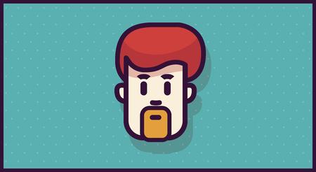 Man head or icon for app or mobile or web