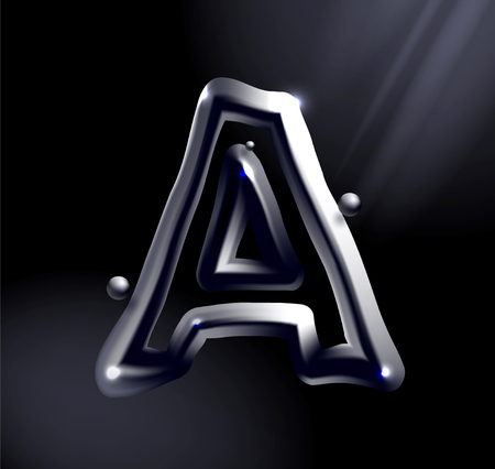 Chrome or lisuid alphabet. Metallic font effect a letter on a dark background. Stock vector typeface for your design. 向量圖像