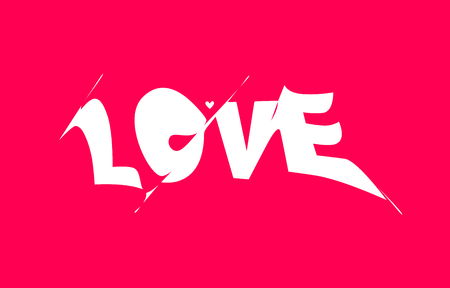 LOVE. Banner, poster and sticker concept, with liquid text love.  イラスト・ベクター素材