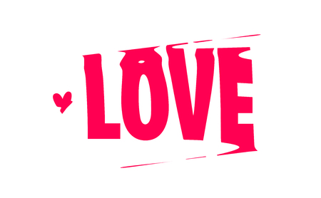 LOVE. Banner, poster and sticker concept, with liquid text love. Icon or logo message for web on red background. Vector stock Illustration for valentine day. 向量圖像