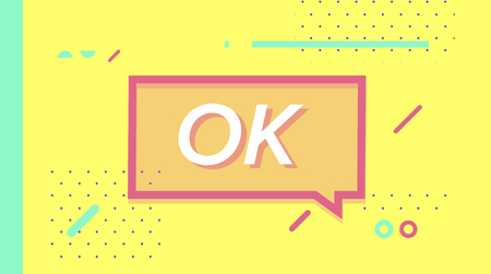 Ok in design banner. vector template for web, print, presentation
