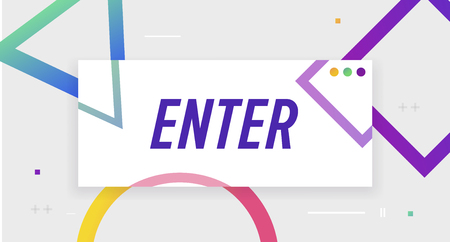 Enter Vector banner with frame. Template for web, print, presentation with Enter text. Vector stock Illustration. Illustration