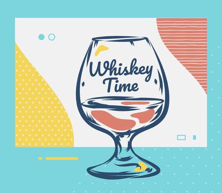 Whiskey Glass. Hand Drawn Scotch whiskey Vector Illustration.