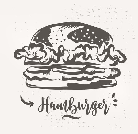 Hamburger poster with cool design. Vector illustration
