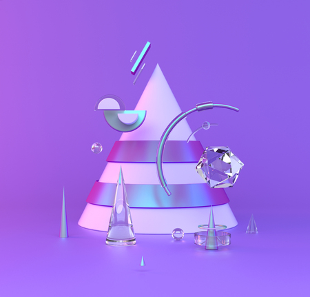Abstract 3D of metal objects on violet background. stock Illustration 版權商用圖片