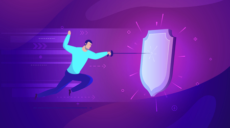 Vector business concept illustration Good protection by a shield from attack - Modern colors. Creative Bussiness flat illustration. Slide templates or banner images for websites, or apps. Vector stock Illustration