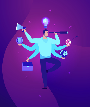 Vector business concept illustration Businessman with multitasking and multi skill - Modern colors. Creative Bussiness flat illustration. Slide templates or banner images for websites, or apps. Vector stock Illustration