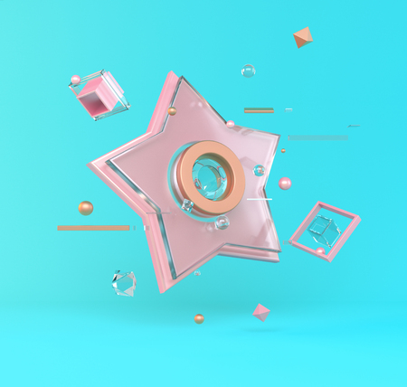 Abstract 3D of metal objects on blue background. stock Illustration