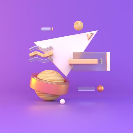 Abstract 3D of metal objects on violet background. stock Illustration Reklamní fotografie