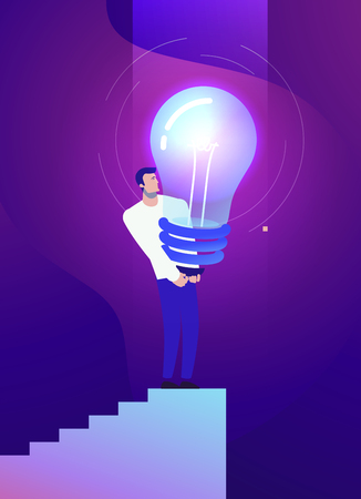 Vector business concept illustration of strong man and creative idea - Modern colors. Creative Bussiness flat illustration. Slide templates or banner images for websites, or apps. Vector stock Illustration 向量圖像