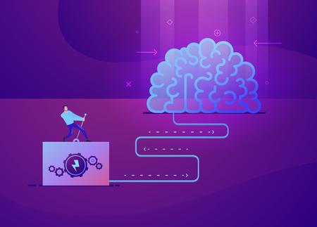 Ilustración de concepto de negocio de vector de hombre que enciende la idea del cerebro - colores modernos. Ilustración plana de negocios creativos. Plantillas de diapositivas o imágenes de banner para sitios web o aplicaciones. Ilustración de stock vectorial
