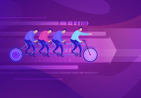 Vector business concept illustration of team who sits on the bike teamwork - Modern colors. Creative Bussiness flat illustration. Slide templates or banner images for websites, or apps. Vector stock Illustration