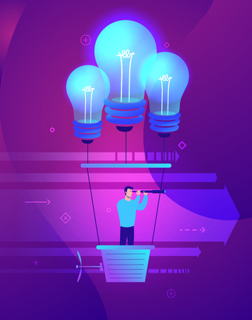 Vector business concept illustration of Businessman holding the right course. Businessman flying in a balloon with lamps of ideas - Modern colors. Creative Bussiness flat illustration. Slide templates or banner images for websites, or apps. Vector stock Illustration 向量圖像