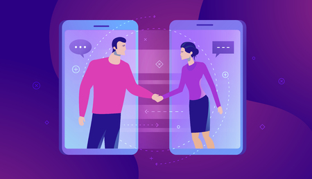 Vector business concept illustration of Online Communication. Businesspersons shaking hands through display of a phone - Modern colors. Creative Bussiness flat illustration. Slide templates or banner images for websites, or apps. Vector stock Illustration