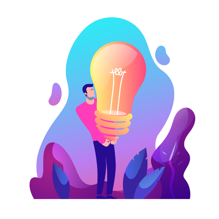 Vector business concept illustration of strong man and creative idea - Modern colors. Creative Bussiness flat illustration. Slide templates or banner images for websites, or apps. Vector stock Illustration Ilustrace