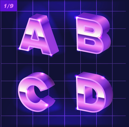 80 s retro alphabet. Metallic font effect type letters and numbers. Vector typeface for your design and prints